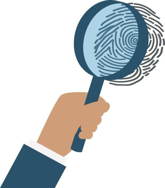 ilustrações, clipart, desenhos animados e ícones de identificação da impressão digital de verticilos com lupa - roubo de identidade