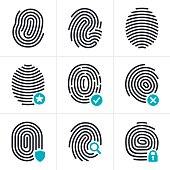 Fingerprint biometric and identity security symbol and icon collection. EPS 10 file. Transparency effects used on highlight elements.