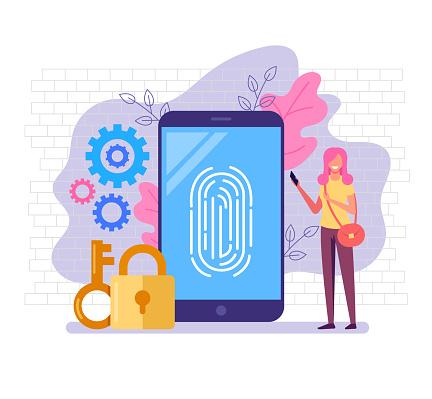 Fingerprint identity sensor banner poster home page web site modern technology illustration concept. Vector flat cartoon graphic design illustration