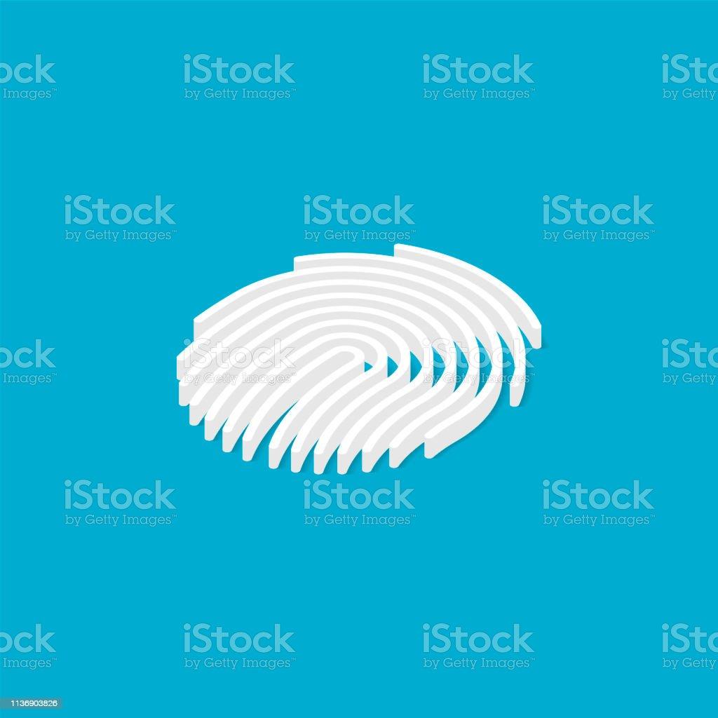 Fingerprint isometric. Vector illustration touch ID