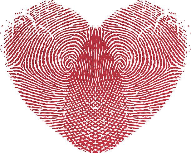 Fingerprint Love Heart vector art illustration