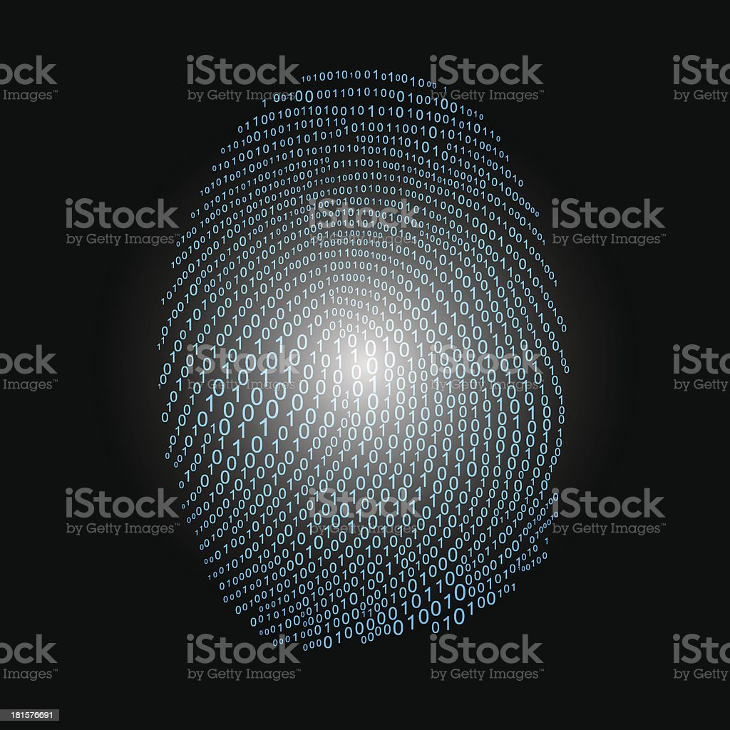 Fingerprint made with binary code royalty-free stock vector art