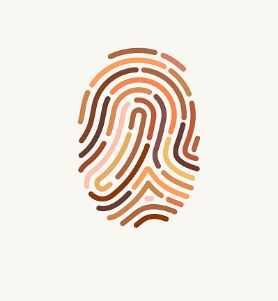 Fingerprint of many different skin tones. Illustration for diversity and unity.