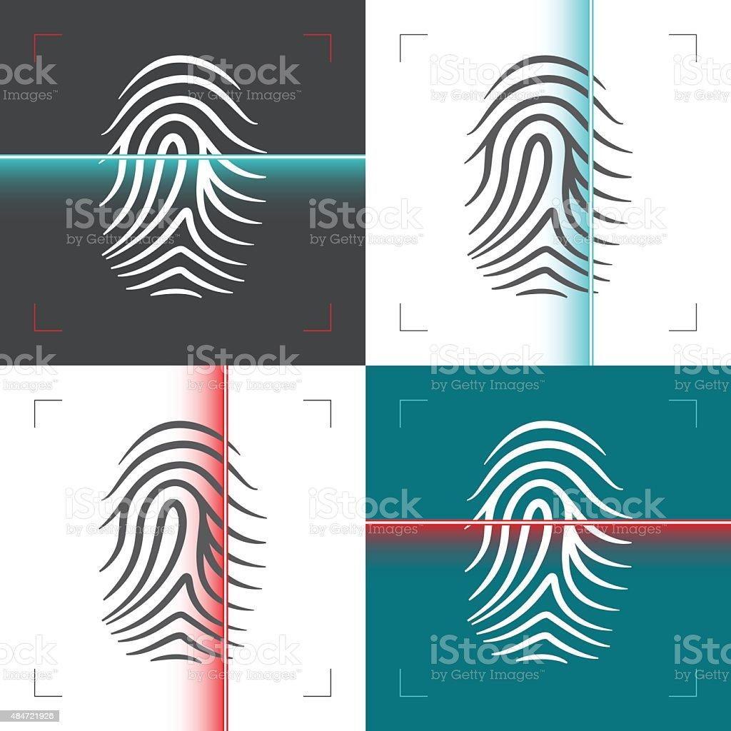Fingerprint or thumbprint laser scan illustration vector art illustration