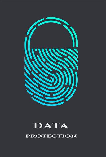 Fingerprint padlock logo, sign.