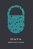 Fingerprint padlock logo, sign on a dark background.