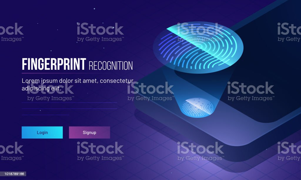 Fingerprint Recognition concept, login or sign up page with isometric illustration of smartphone with fingerprint scanner. Responsive web template design. vector art illustration