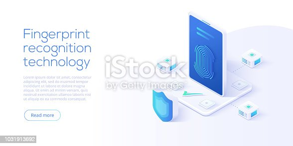 Fingerprint recognition technology in isometric vector illustration. Smartphone id security system concept. Finger touch scanner app. Web landing page template.