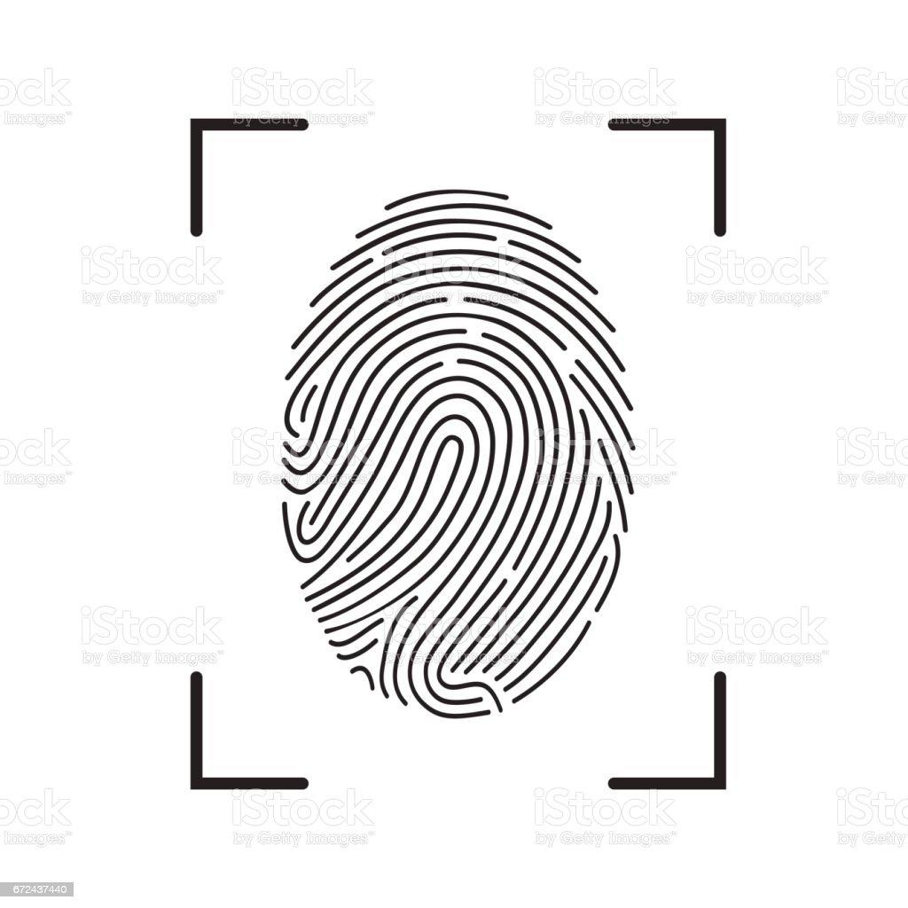 Fingerprint Scan Icon vector art illustration