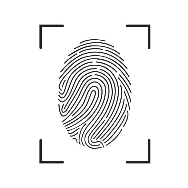 fingerabdruck-scan-symbol - digitalanzeige stock-grafiken, -clipart, -cartoons und -symbole