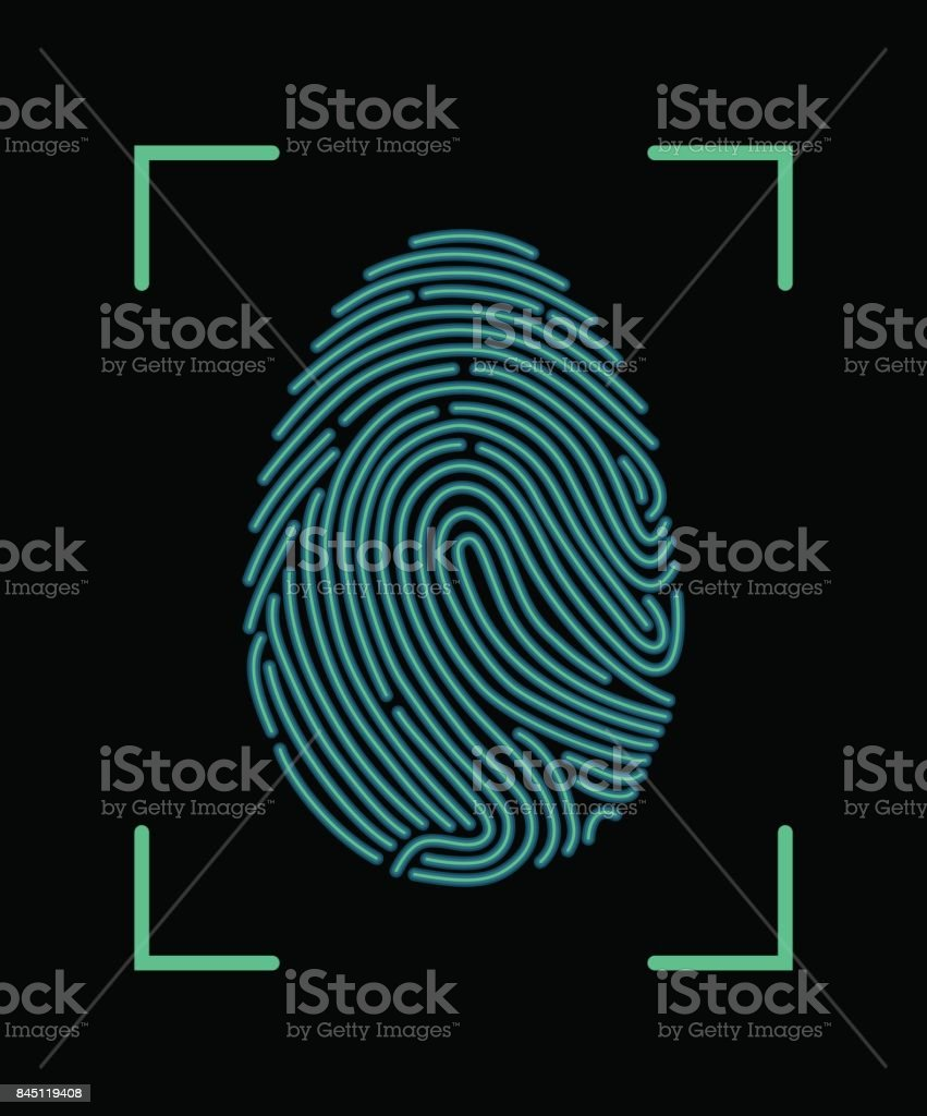 Fingerprint Scan Icon vector art illustration