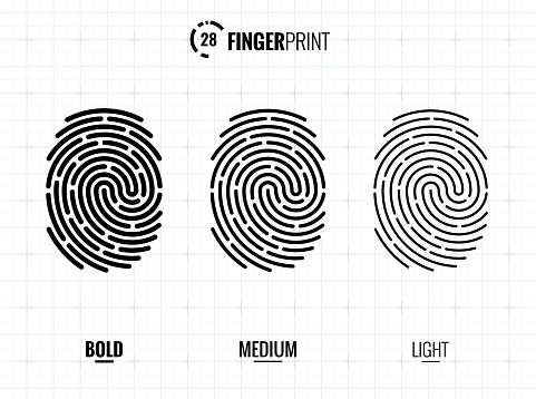 Digital vector fingerprint scan icons in 3 different sizes of thickness