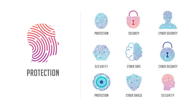 Fingerprint scan logo, privacy, cyber security ,identity information and network protection. Person head, brain, cloud and lock icons. Vector icon design Fingerprint scan logo, privacy, cyber security ,identity information and network protection. Person head, brain, cloud and lock icons. Vector icon collection security pass stock illustrations