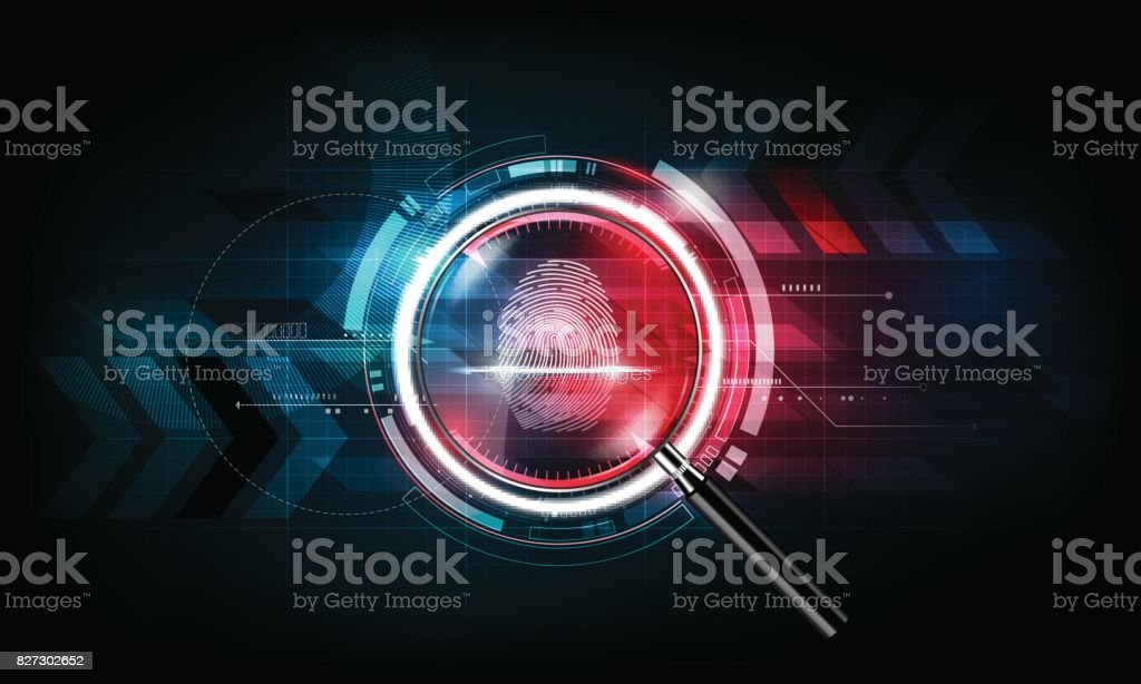 Fingerprint scan, magnify glass, Technology Background, Security concept, vector illustration
