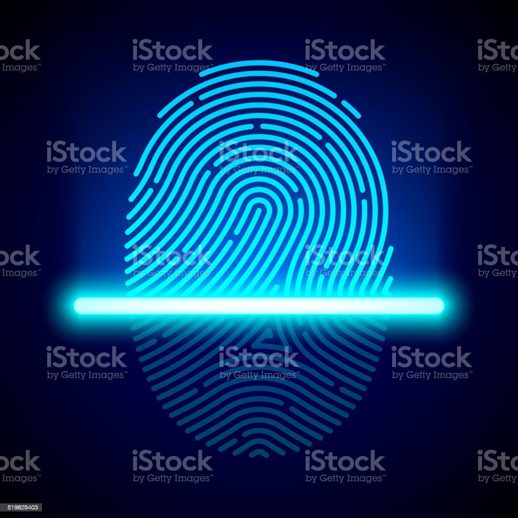Fingerprint scanner, identification system vector art illustration