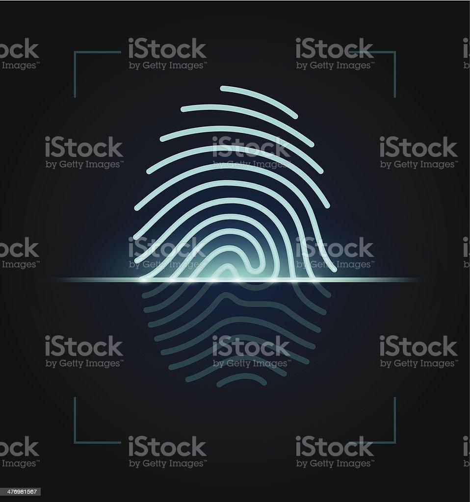 Fingerprint scanner illustration vector art illustration