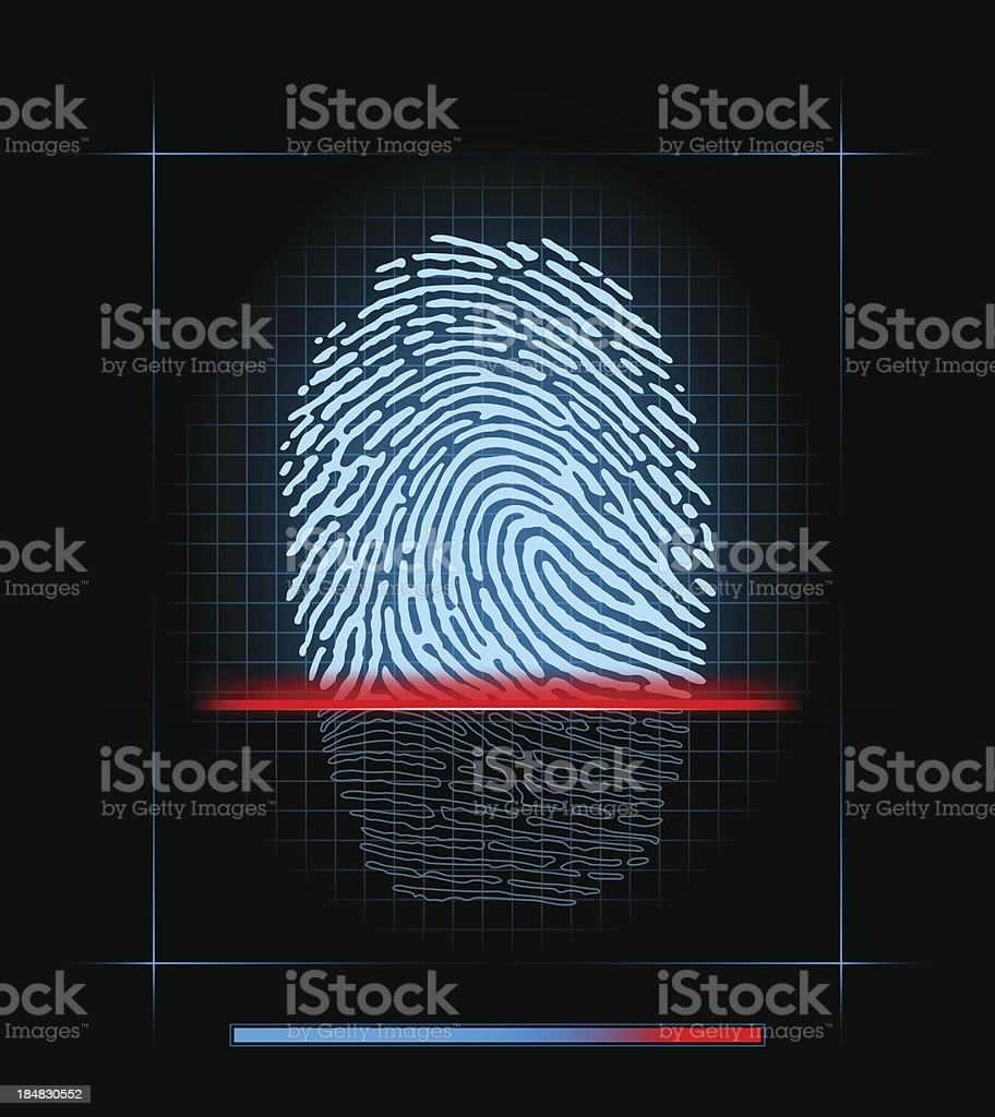 Fingerprint scanner vector art illustration