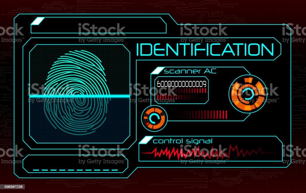 Fingerprint scanner vector art illustration