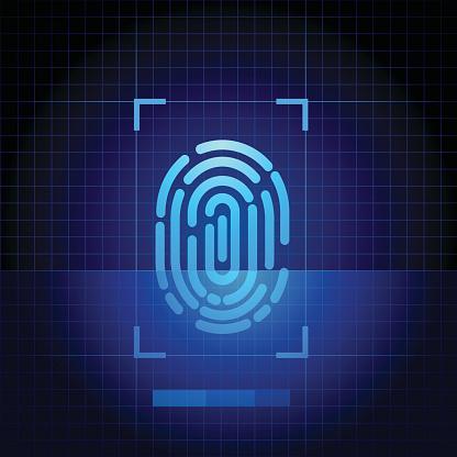 Fingerprint scanner with blue technology background