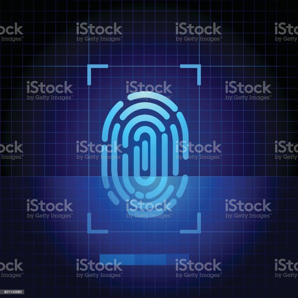 Fingerprint scanner with blue technology background vector art illustration