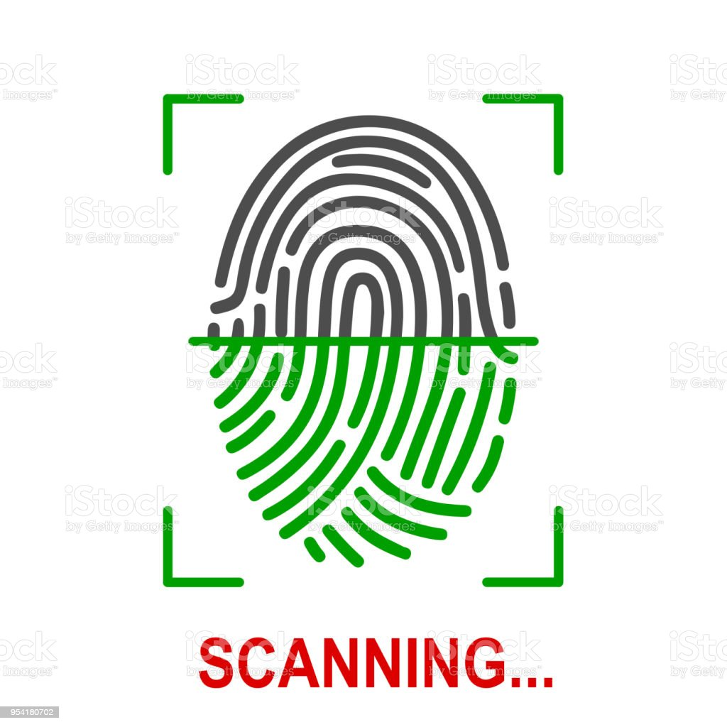 Fingerprint scanning icon for apps with security unlock – stock vector vector art illustration