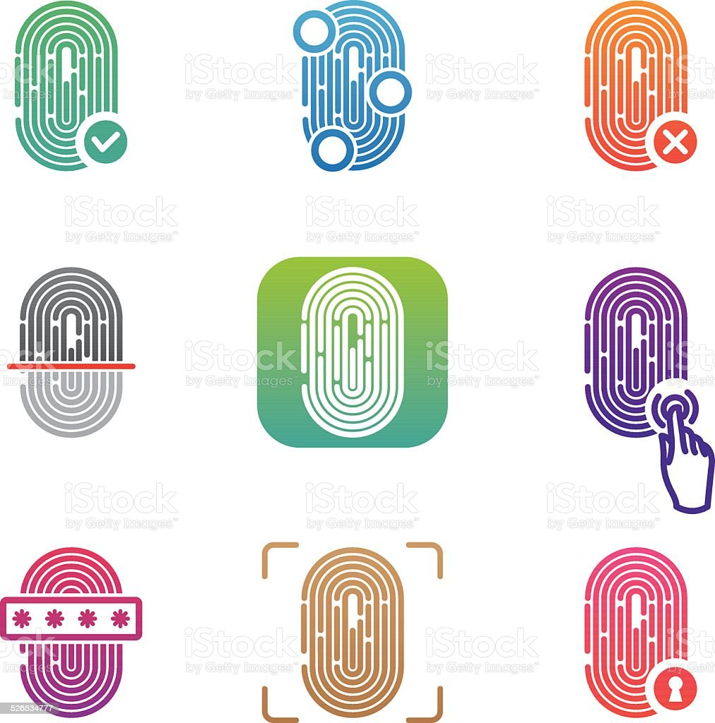 Fingerprint scanning icons vector art illustration