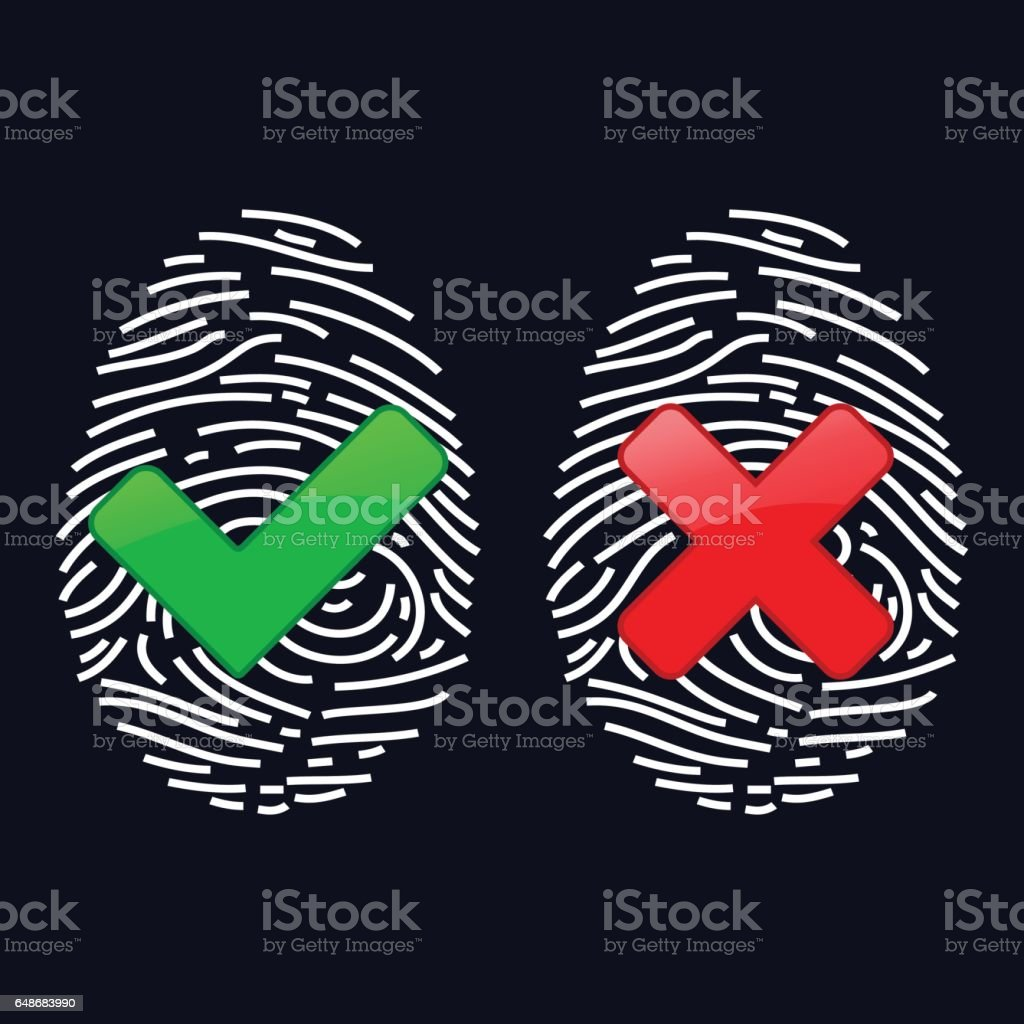 Finger-print Scanning Identification System. Biometric Authorization and Business Security Concept vector art illustration