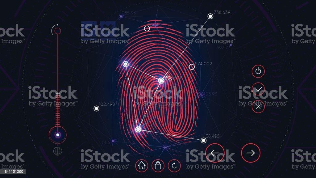 Fingerprint scanning identification system, futuristic sci-fi red interface, biometric authorization technology vector art illustration