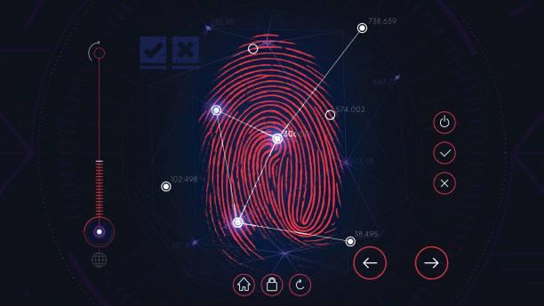 fingerabdruck-scan identifikationssystem, futuristische sci-fi-infrarot-schnittstelle, biometrische autorisierung technologie - farbwahrnehmung stock-grafiken, -clipart, -cartoons und -symbole