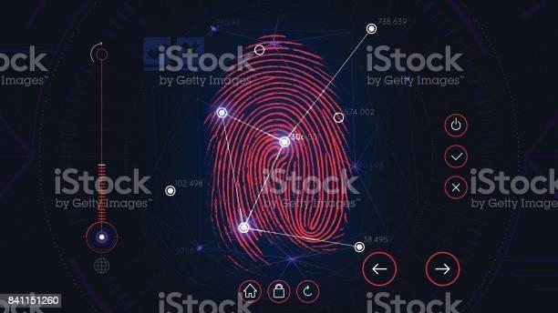 Ilustración de Análisis Sistema De Identificación La Interfaz Roja Ciencia Ficción Futurista Tecnología Autorización Biométrica De La Huella Digital y más Vectores Libres de Derechos de Huella dactilar