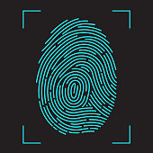 Finger-print Scanning Identification System. Biometric Authorization and Business Security Concept. Vector illustration in flat style