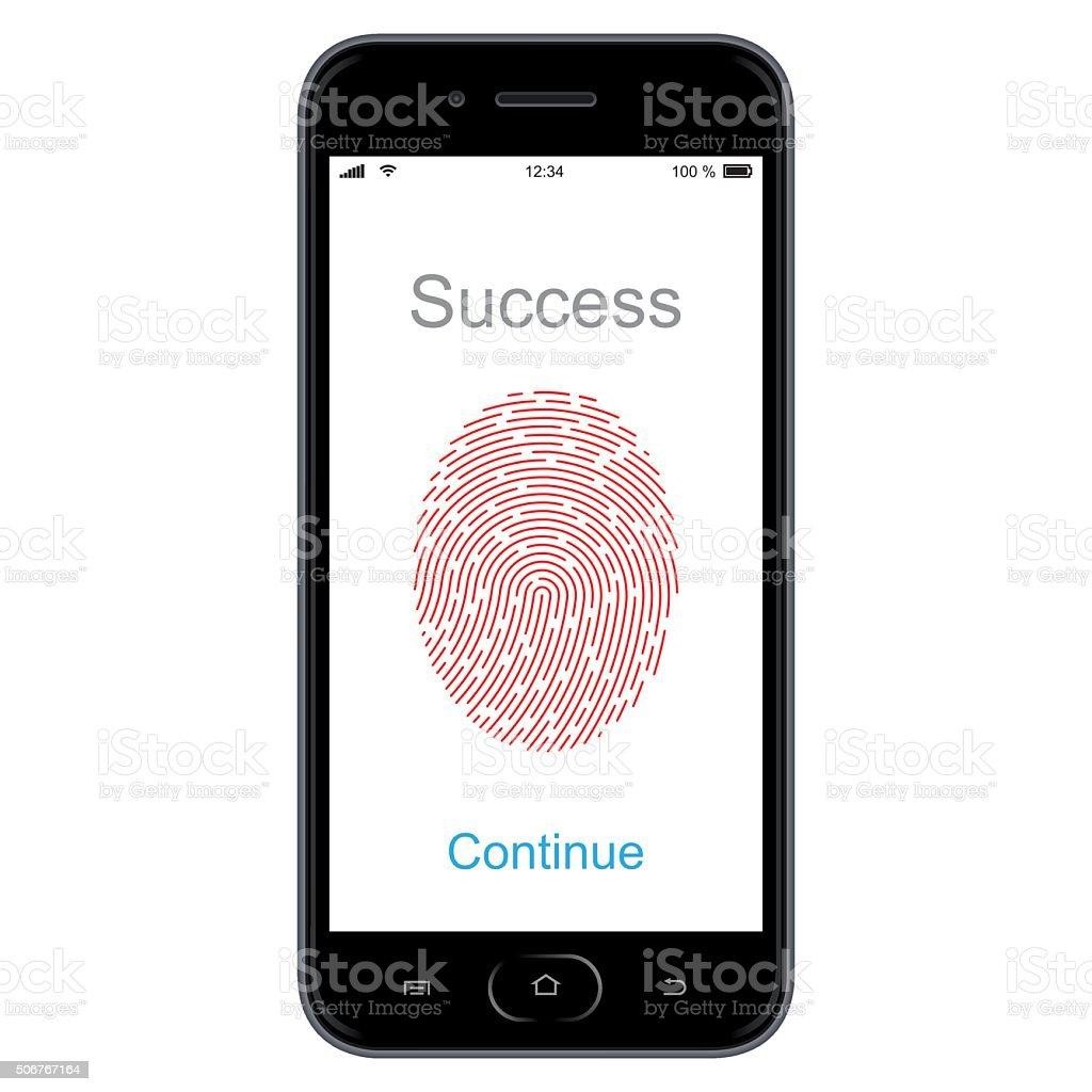 Fingerprint scanning on smart phone. Vector vector art illustration