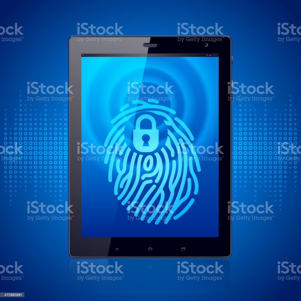 Fingerprint Scanning Tablet royalty-free stock vector art