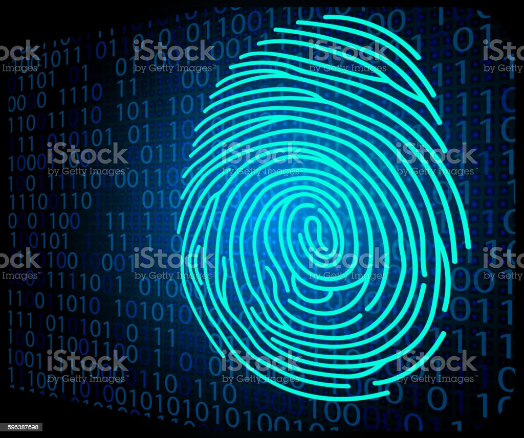 Fingerprint scanning technology background binary code ベクターアートイラスト