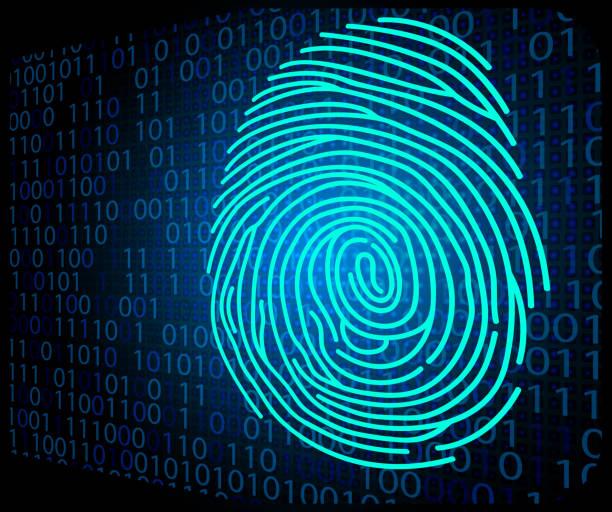 fingerprint scanning technology background binary code - id盗難点のイラスト素材/クリップアート素材/マンガ素材/アイコン素材