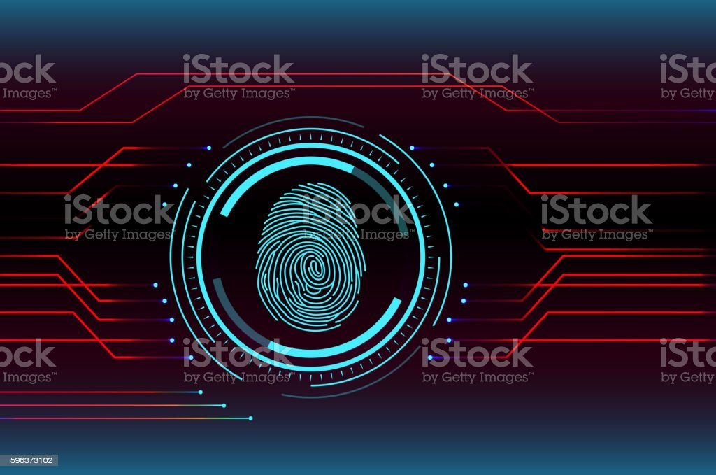 Fingerprint Scanning Technology Concept Illustration vector art illustration