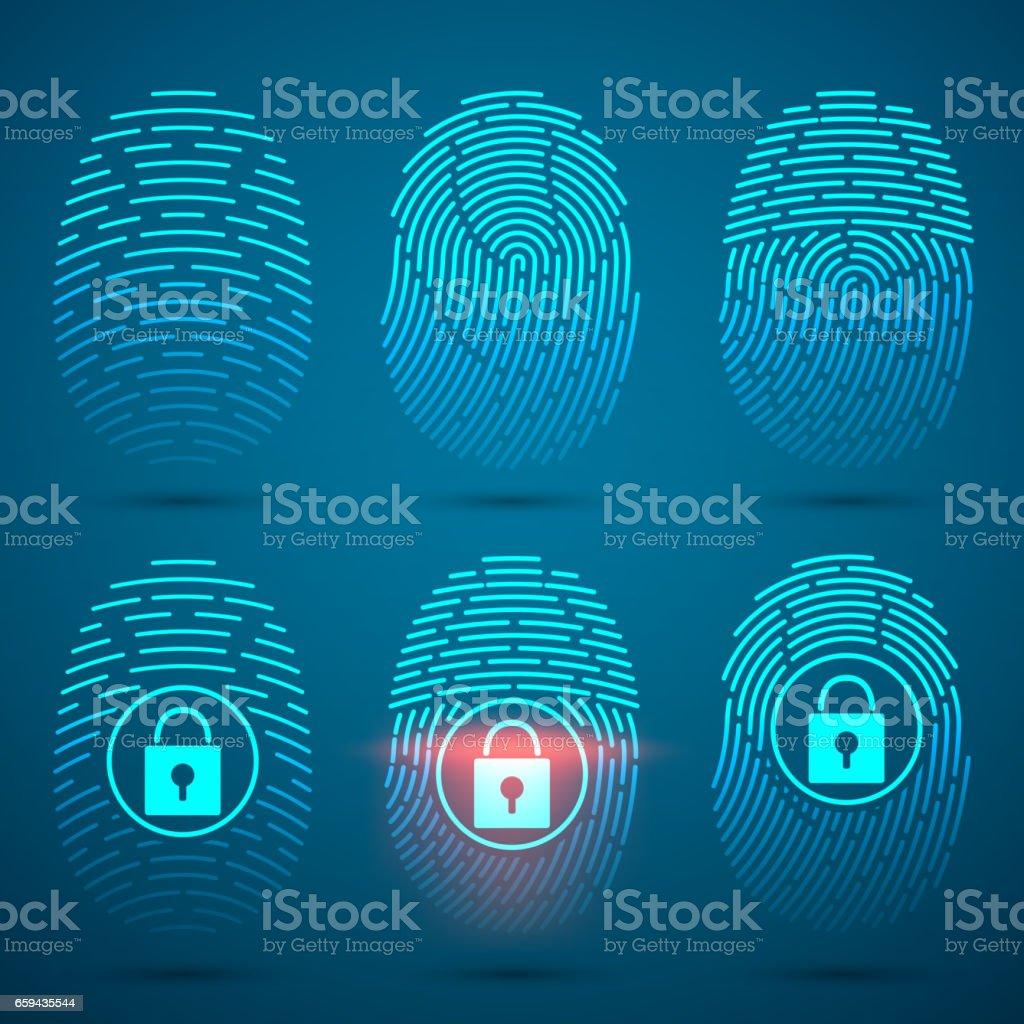 Fingerprint scanning. Vector illustration. Security system. vector art illustration