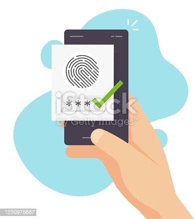 Fingerprint security identification via digital biometric sensor online on mobile phone or smartphone finger print secure authentication and authorization and cellphone password access id verification