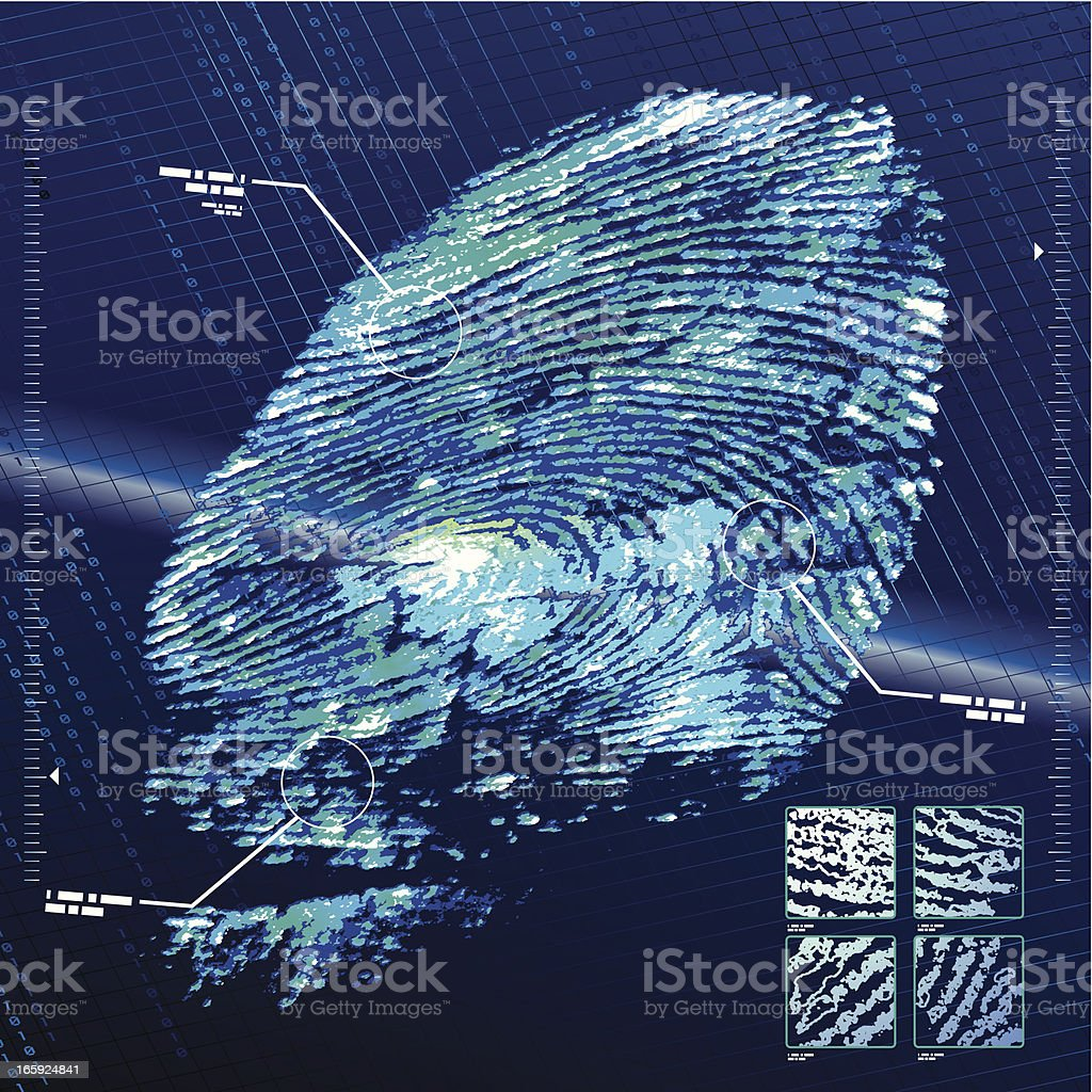 Fingerprint Security System vector art illustration