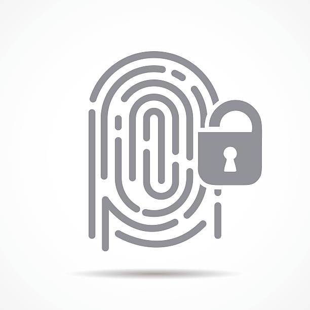 ilustraciones, imágenes clip art, dibujos animados e iconos de stock de fingerprint security - robo de identidad