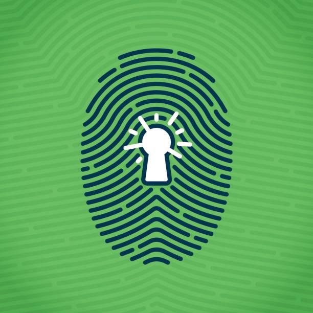 ilustraciones, imágenes clip art, dibujos animados e iconos de stock de huella dactilar de seguridad - robo de identidad