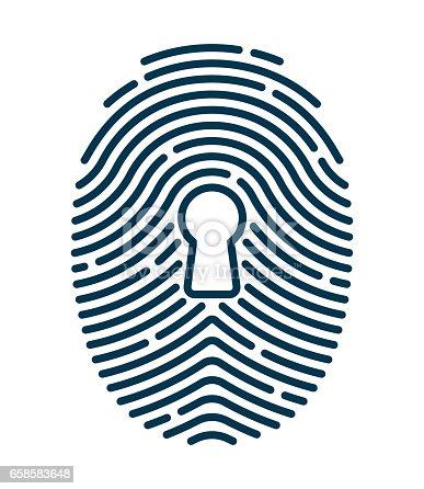 Fingerprint security keyhole concept.
