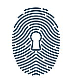 Fingerprint security keyhole concept.