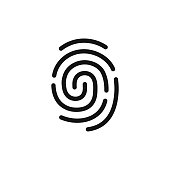 Fingerprint simple black icon, authentication symbol, line style vector illustration isolated on white background
