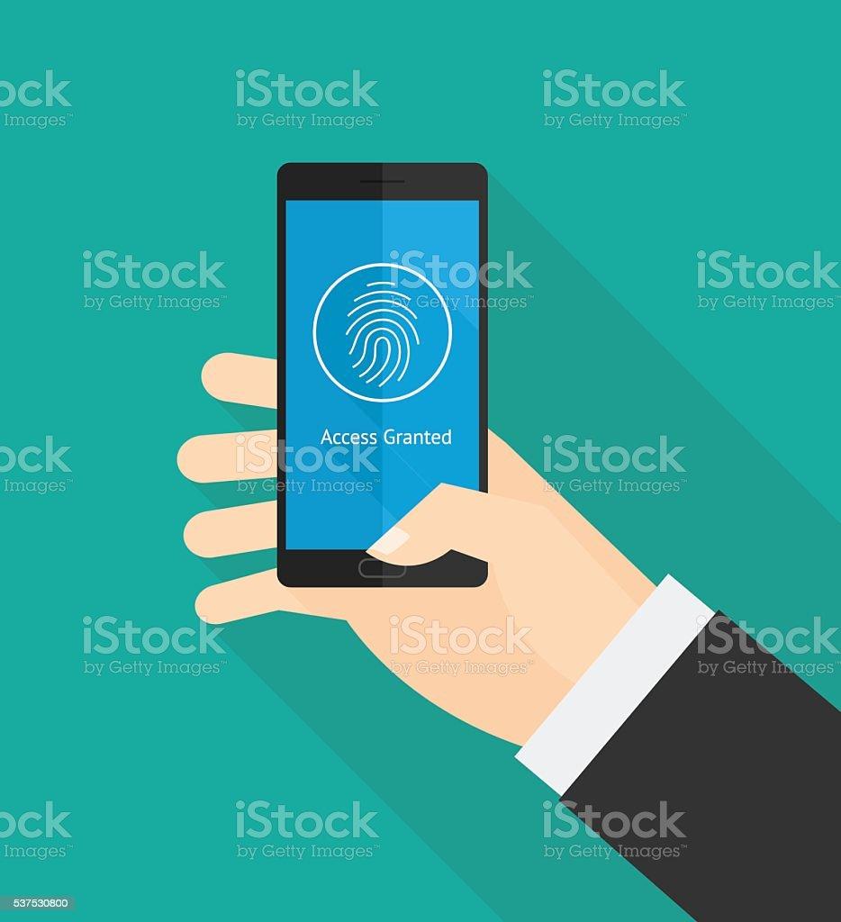指紋スマートフォンのセキュリティ ベクターアートイラスト
