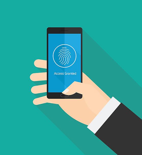 指紋スマートフォンのセキュリティ - id盗難点のイラスト素材/クリップアート素材/マンガ素材/アイコン素材