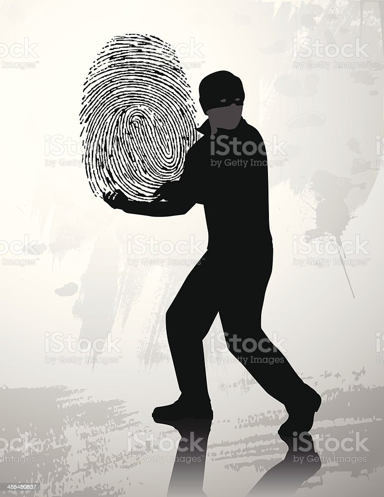 Fingerprint thief silhouette royalty-free stock vector art