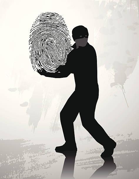 ilustraciones, imágenes clip art, dibujos animados e iconos de stock de huella dactilar ladrón de silhouette - robo de identidad