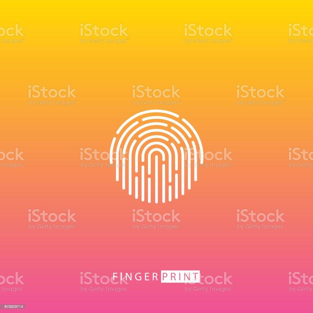 Fingerprint touch ID white icon on blurred background. vector art illustration