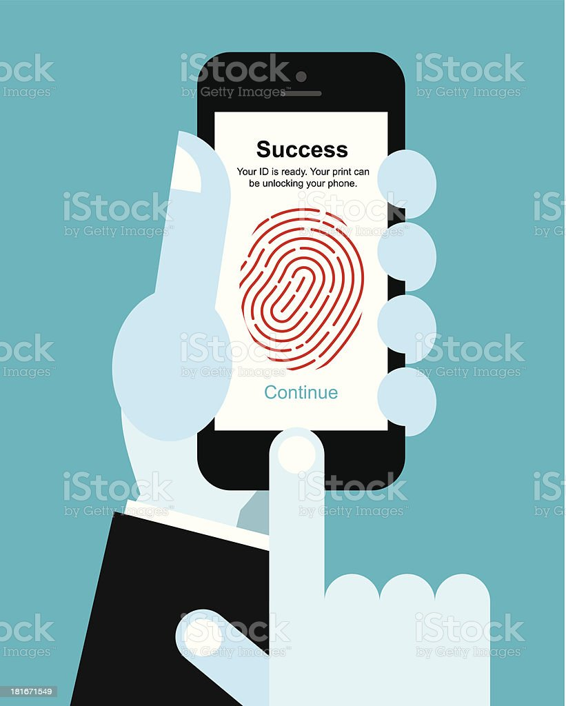 Fingerprint unlock smart phone vector art illustration